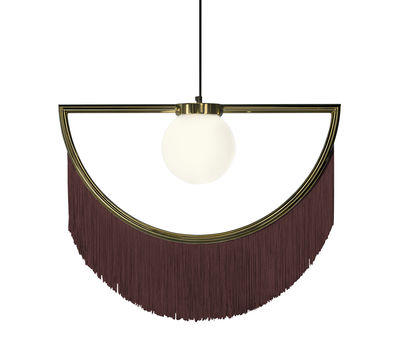 Luminaire - Suspensions - Suspension Wink / Franges - L 60 x H 48 cm - Houtique - Marron / Or - Acier, Acrylique, Verre opalin