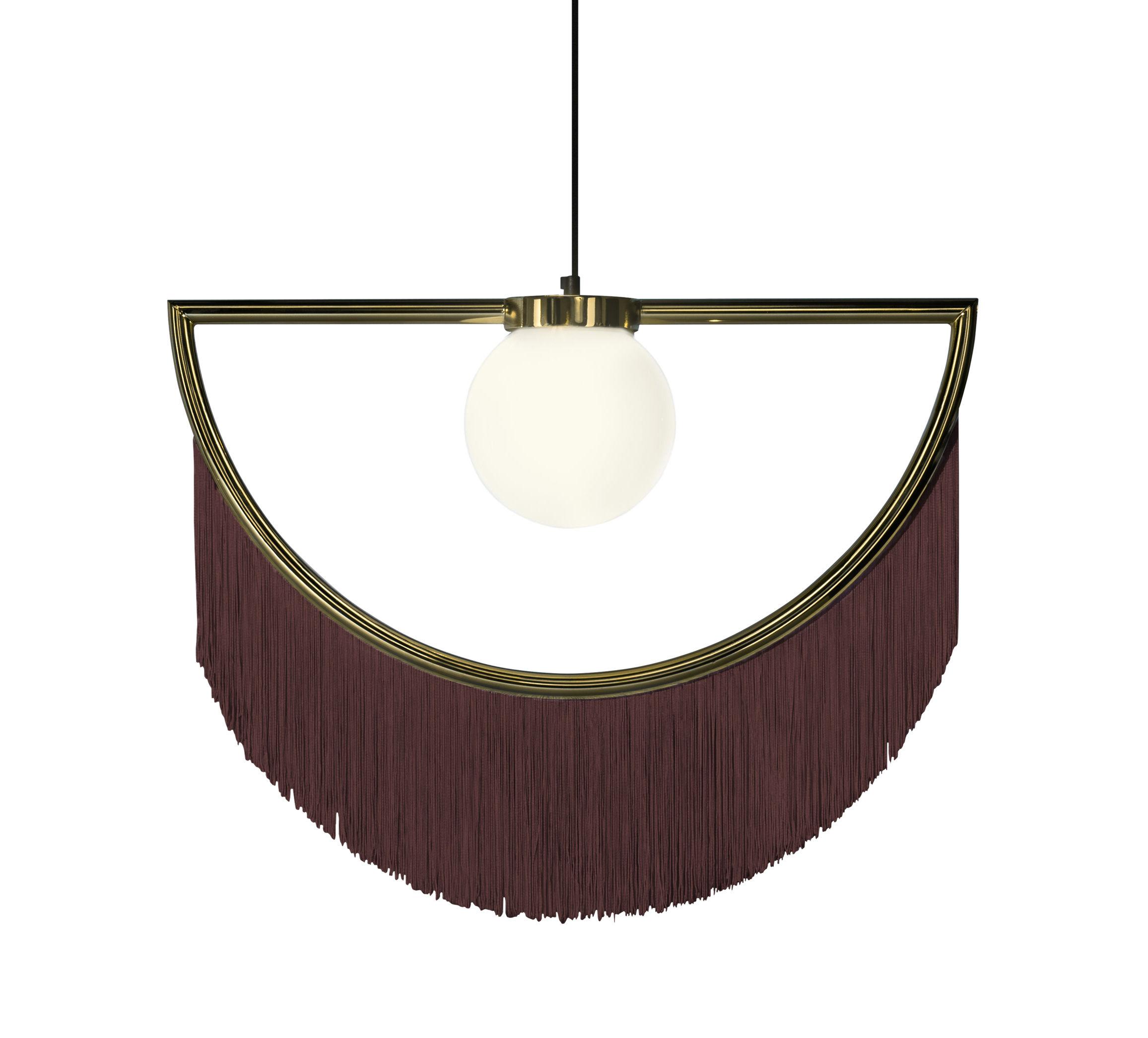 Luminaire - Suspensions - Suspension Wink / Franges - L 60 x H 48 cm - Houtique - Marron / Or - Acier, Acrylique, Verre opalin