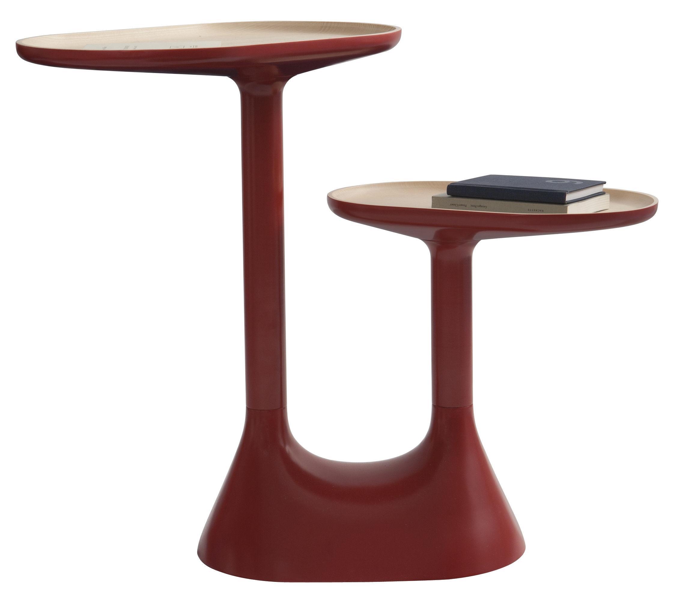 Mobilier - Tables basses - Table basse Baobab /2 plateaux pivotants - Moustache - Rouge - Hêtre laqué, Tilleul