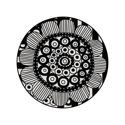 Black Bombay n°2 Teppich / Ø 99 cm - Vinyl - PÔDEVACHE - Weiß,Schwarz