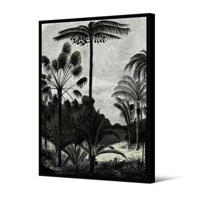 Dekoration - Stickers und Tapeten - Brohea Toile encadrée / 80 x 120 cm - PÔDEVACHE - Exotische Natur / Grau - Kiefer, Leinen