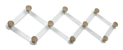 Möbel - Garderoben und Kleiderhaken - Daysign Wandgarderobe / ausziehbar - L 80 cm - Serax - Weiß & Eiche - Eiche, lackiertes Metall