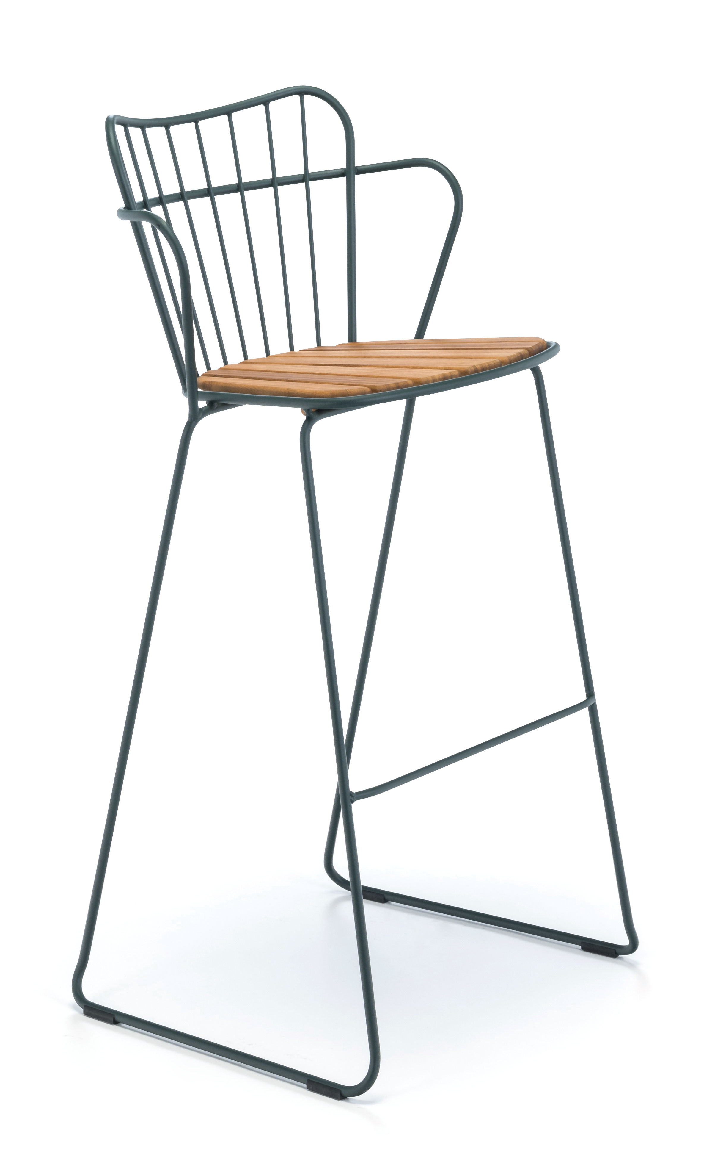 Furniture - Bar Stools - Paon Bar chair - / Metal & bamboo by Houe - Fir tree green - Bamboo, Powder-coated steel