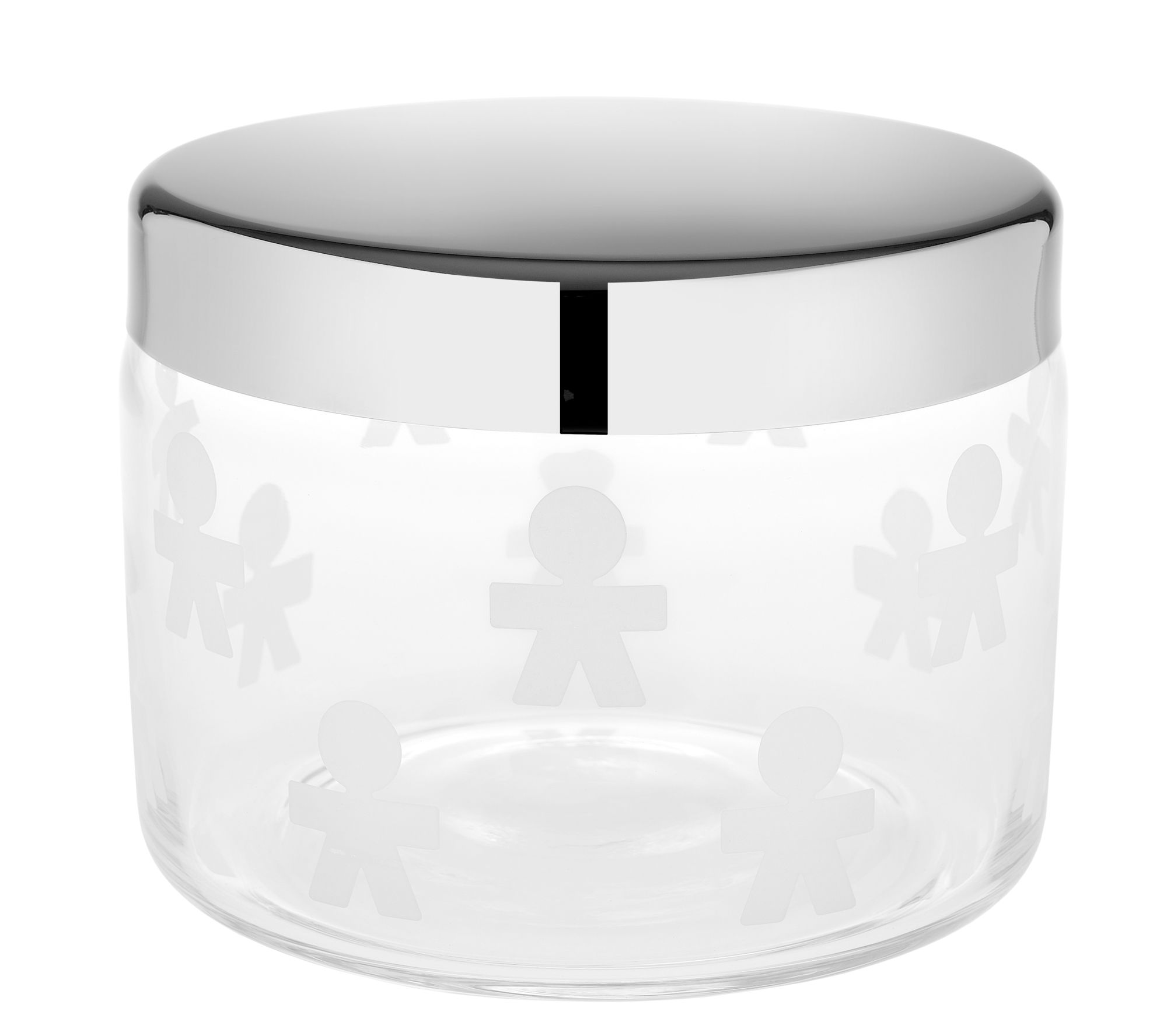 Kitchenware - Kitchen Storage Jars - Girotondo Biscuit tin by A di Alessi - Transparent / Steel lid - Stainless steel, Verre sérigraphié