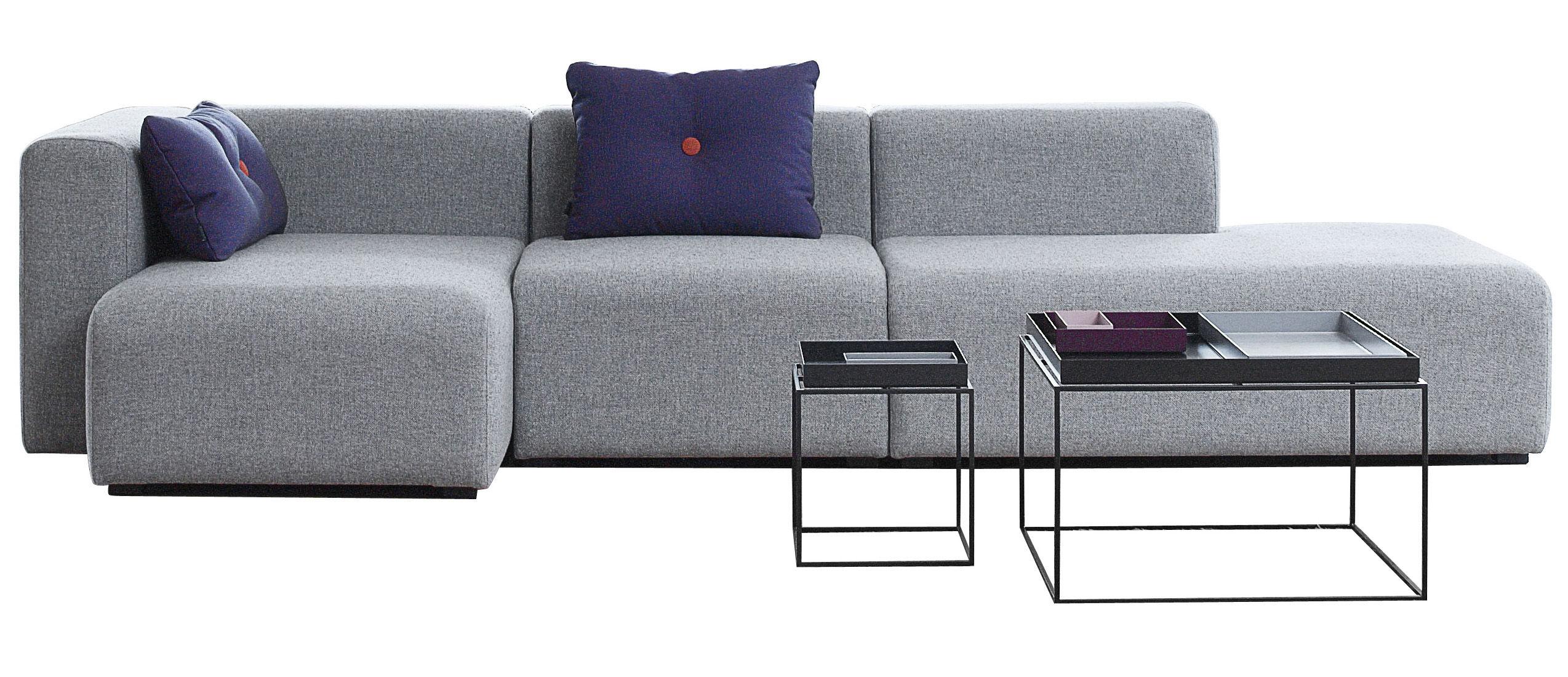 Mobilier - Canapés - Canapé d'angle Mags / L 302 cm - Accoudoir gauche - Hay - Gris clair - Accoudoir gauche - Tissu