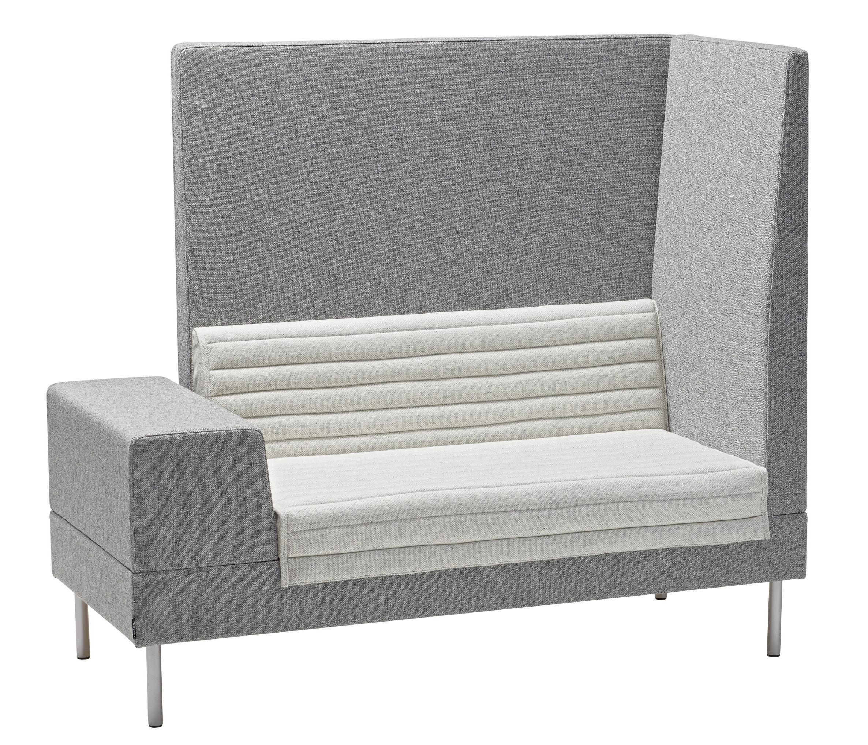 Mobilier - Canapés - Canapé droit Smallroom / Angle droit- L 151 cm - Offecct - Gris - Angle droit - Acier chromé, Bois, Mousse, Tissu