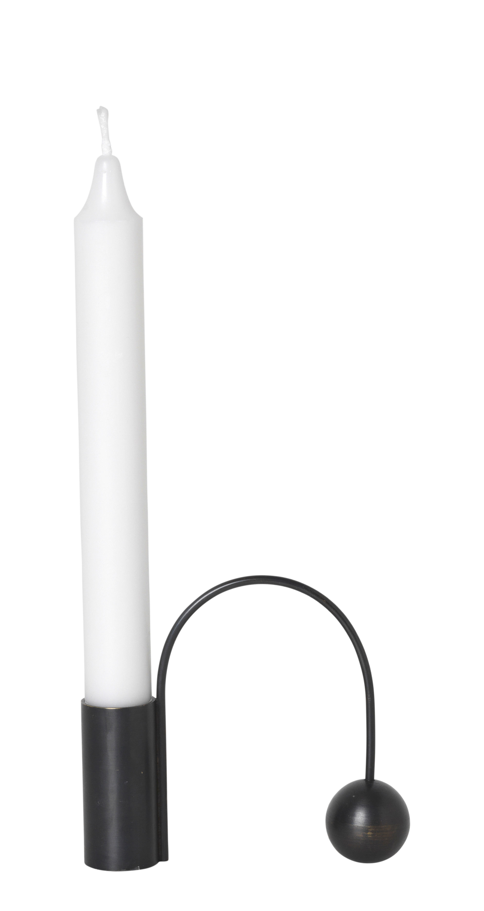 Decoration - Candles & Candle Holders - Balance Candle stick - / Long candle by Ferm Living - Black - Laiton bruni