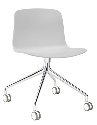 Chaise à roulettes About a chair AAC14 / Pivotante - Hay blanc,aluminium en métal