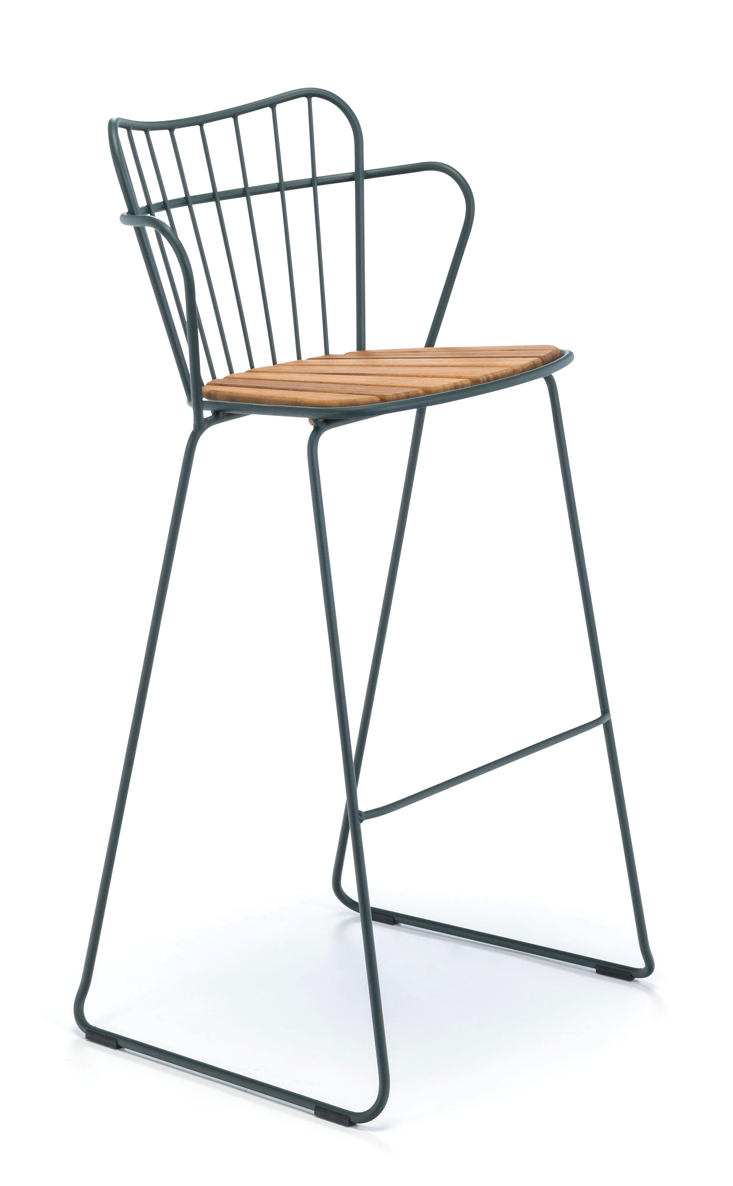 Mobilier - Tabourets de bar - Chaise de bar Paon / Métal & bambou - Houe - Vert sapin - Acier revêtement poudre, Bambou