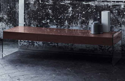 Furniture - Coffee Tables - Float Coffee table - 3 drawers - H 45 cm by Glas Italia - Brown - Cristal, Wenge