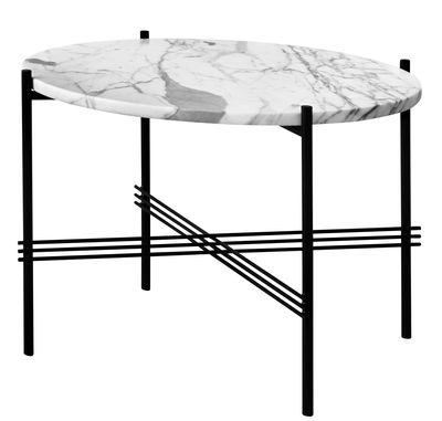 Furniture - Coffee Tables - TS Coffee table - / Ø 80 cm - H 35 cm - Marble by Gubi - Black - Top : White Marble - Carrare marble, Lacquered metal