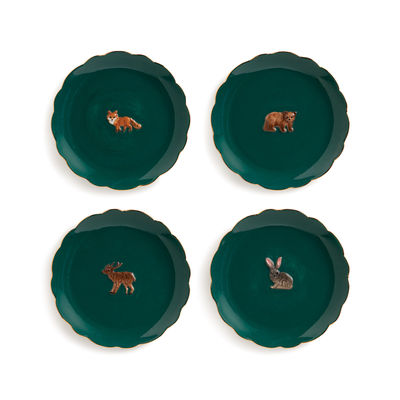 Tableware - Plates - Forest Animal Dessert plate - / Set of 4 - Ø 17 cm / Hand-painted porcelain by & klevering - Green - China