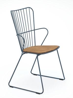 Chaise Paon Métal bambou Houe bleu,bambou naturel en métal