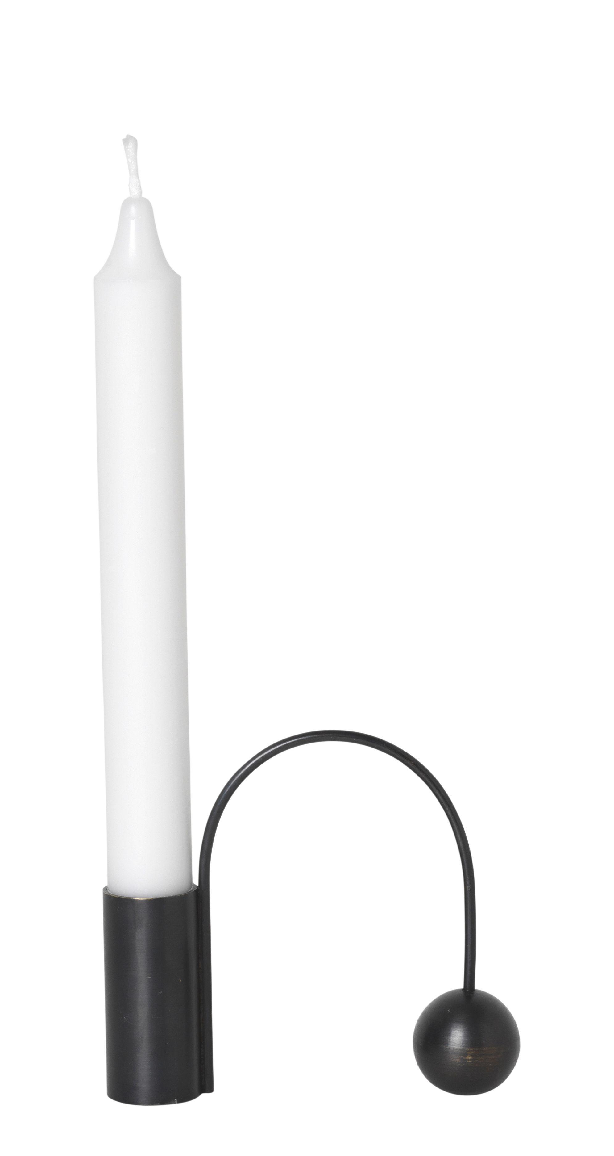 Dekoration - Kerzen, Kerzenleuchter und Windlichter - Balance Kerzenleuchter / für Stabkerzen - Ferm Living - Schwarz - Laiton bruni