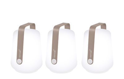 Illuminazione - Lampade da tavolo - Lampada senza fili Balad - / H 13,5 cm - Set di 3 lampade di Fermob - Noce moscata - Alluminio, Polietilene