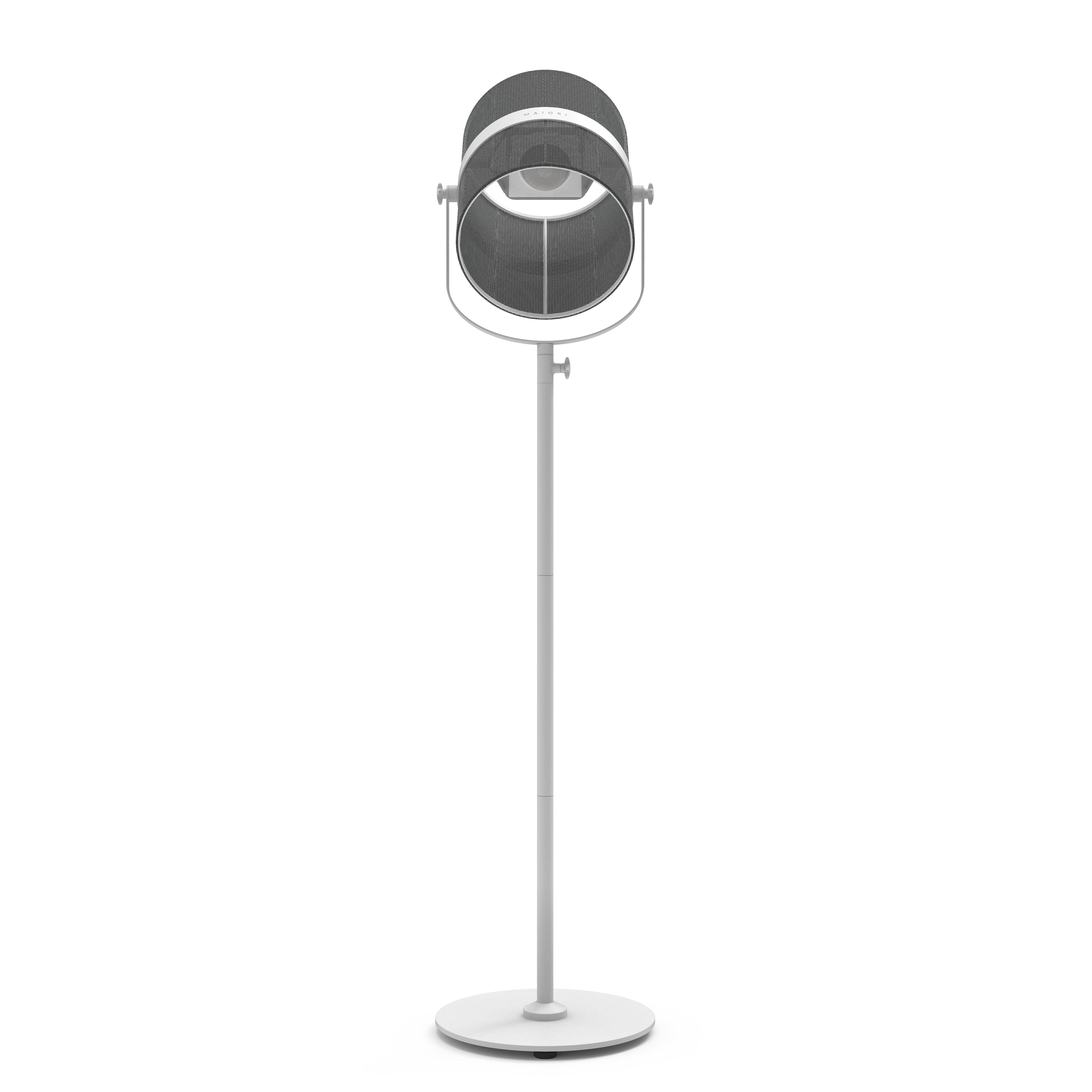 Luminaire - Lampadaires - Lampadaire solaire La Lampe Paris LED / Hybride & connectée - Maiori - Charbon / Pied blanc - Aluminium peint, Tissu