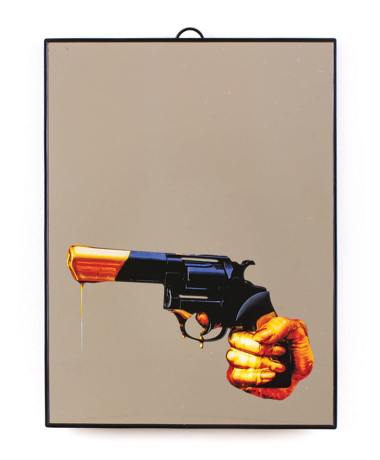 Decoration - Mirrors - Toiletpaper Mirror - / Revolver - Medium H 30 cm by Seletti - revolver / Black - Plastic material, Verre sérigraphié