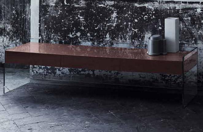 Möbel - Couchtische - Float niedrige Konsole 3 Schubladen - H 45 cm - Glas Italia - Braun - Kristall, Wenge