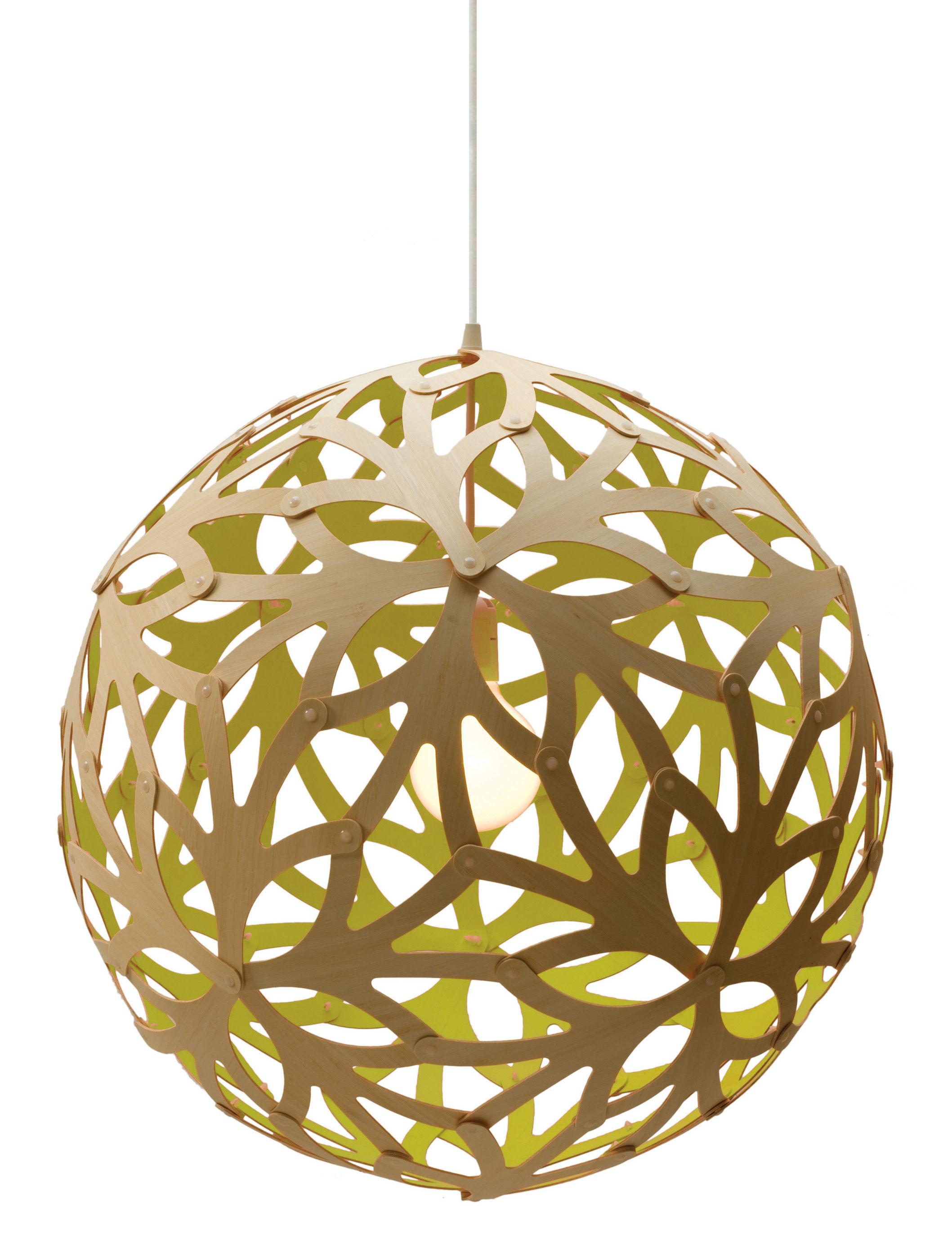 Lighting - Pendant Lighting - Floral Pendant - Ø 60 cm - Bicoloured by David Trubridge - Lime green / Natural wood - Pine