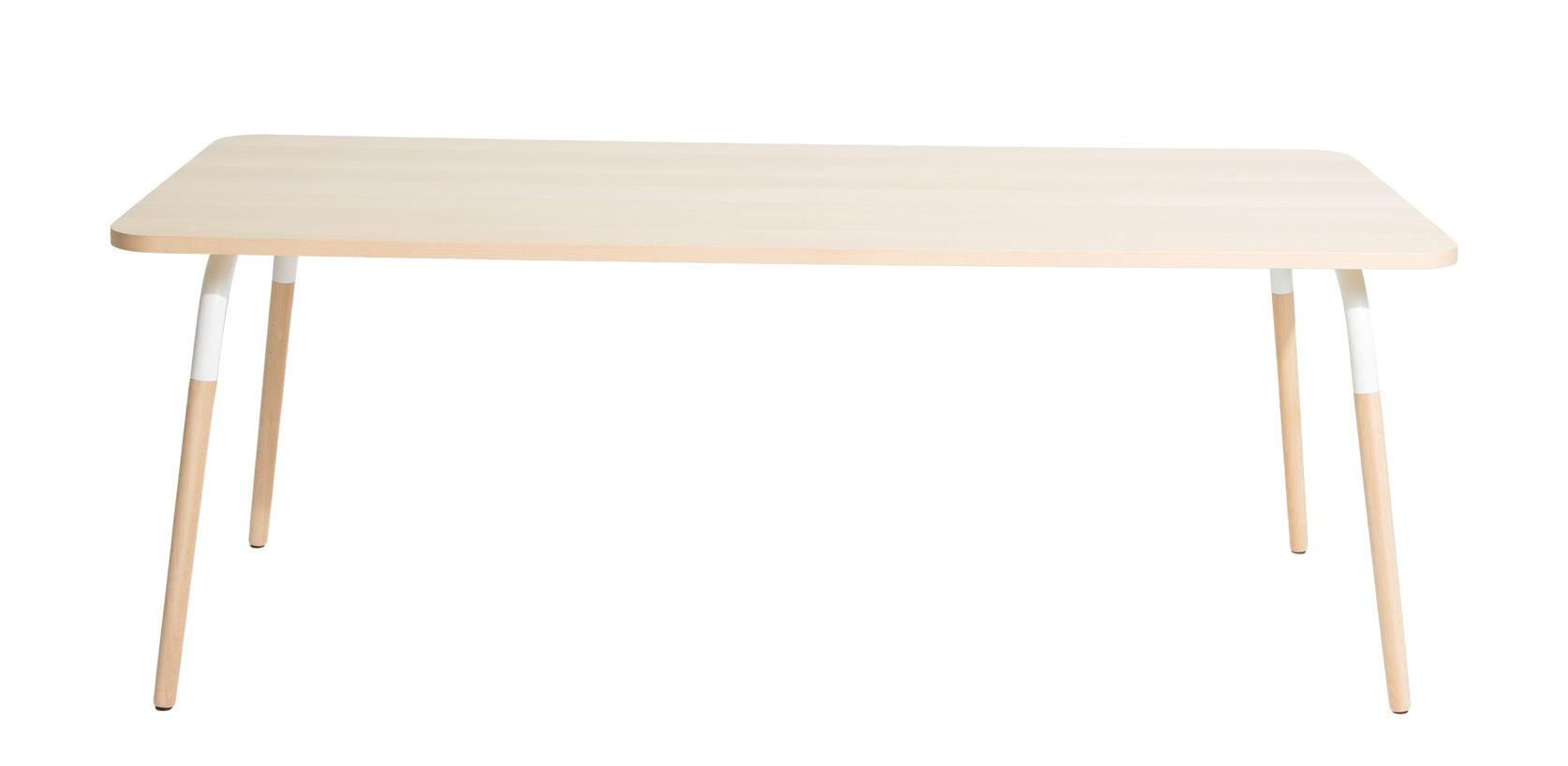 Furniture - Dining Tables - Dojo Rectangular table - / Beech & steel by Petite Friture - Beechwood / White - Beechwood, Painted steel