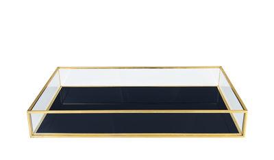 Interni - Scatole déco - Scatola Treasure Rectangle - / Vetro e metallo di & klevering - Rettangolare / Blu - Métal doré, Vetro