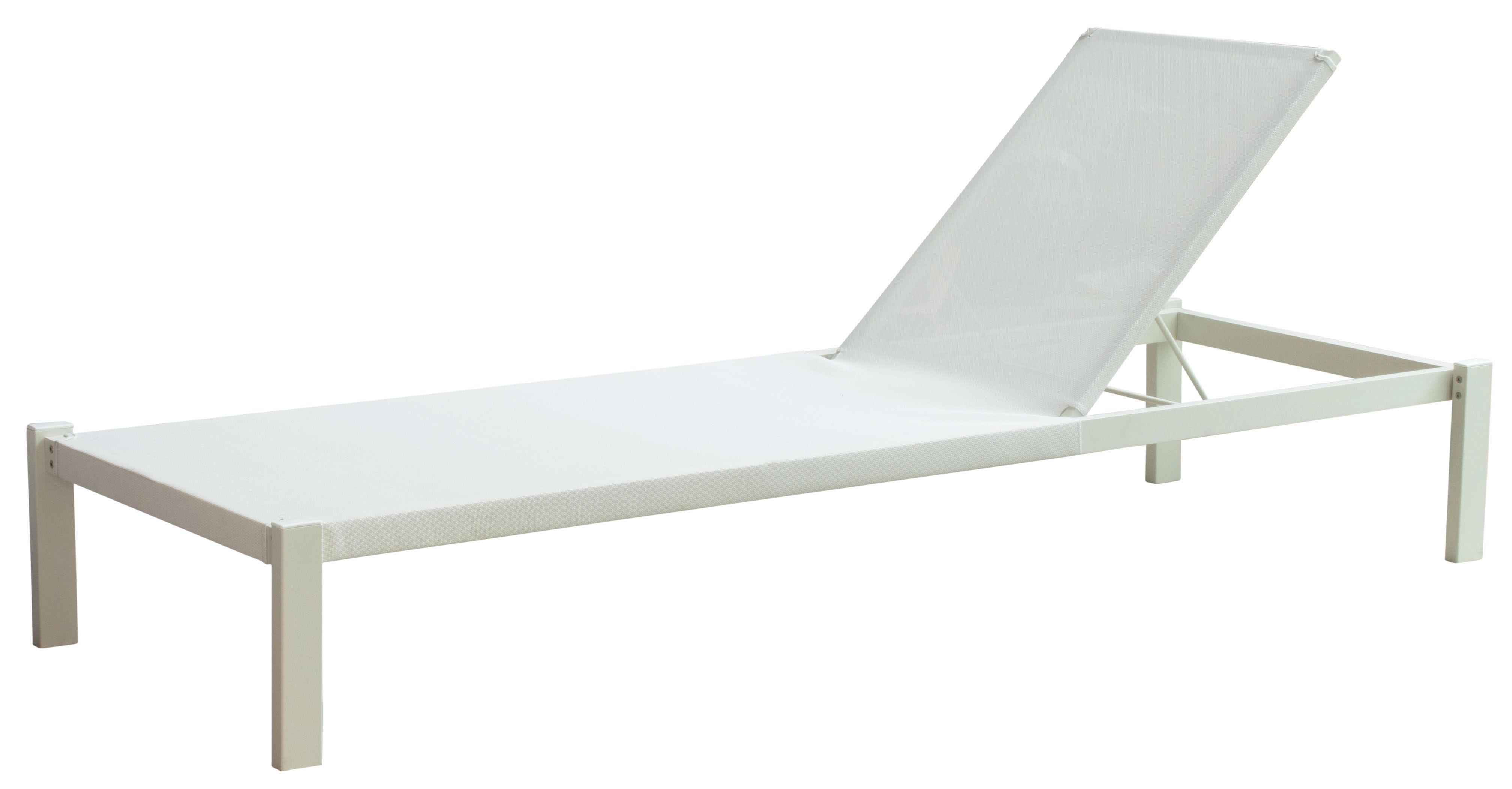 Outdoor - Liegen und Hängematten - Shine Sonnenliege / mit Textilbespannung - verstellbare Rückenlehne - Emu - Weiß / Bespannung weiß - gefirnister Stahl, Leinen