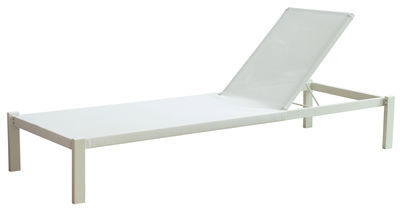 Outdoor - Sun Loungers & Hammocks - Shine Sun lounger - Fabric - Reclinable by Emu - White / White fabric - Cloth, Varnished steel