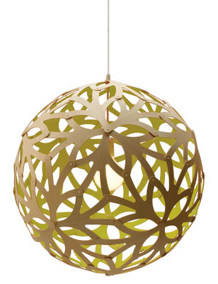 Luminaire - Suspensions - Suspension Floral / Ø 60 cm - Bicolore vert citron & bois - David Trubridge - Vert citron / Bois naturel - Pin