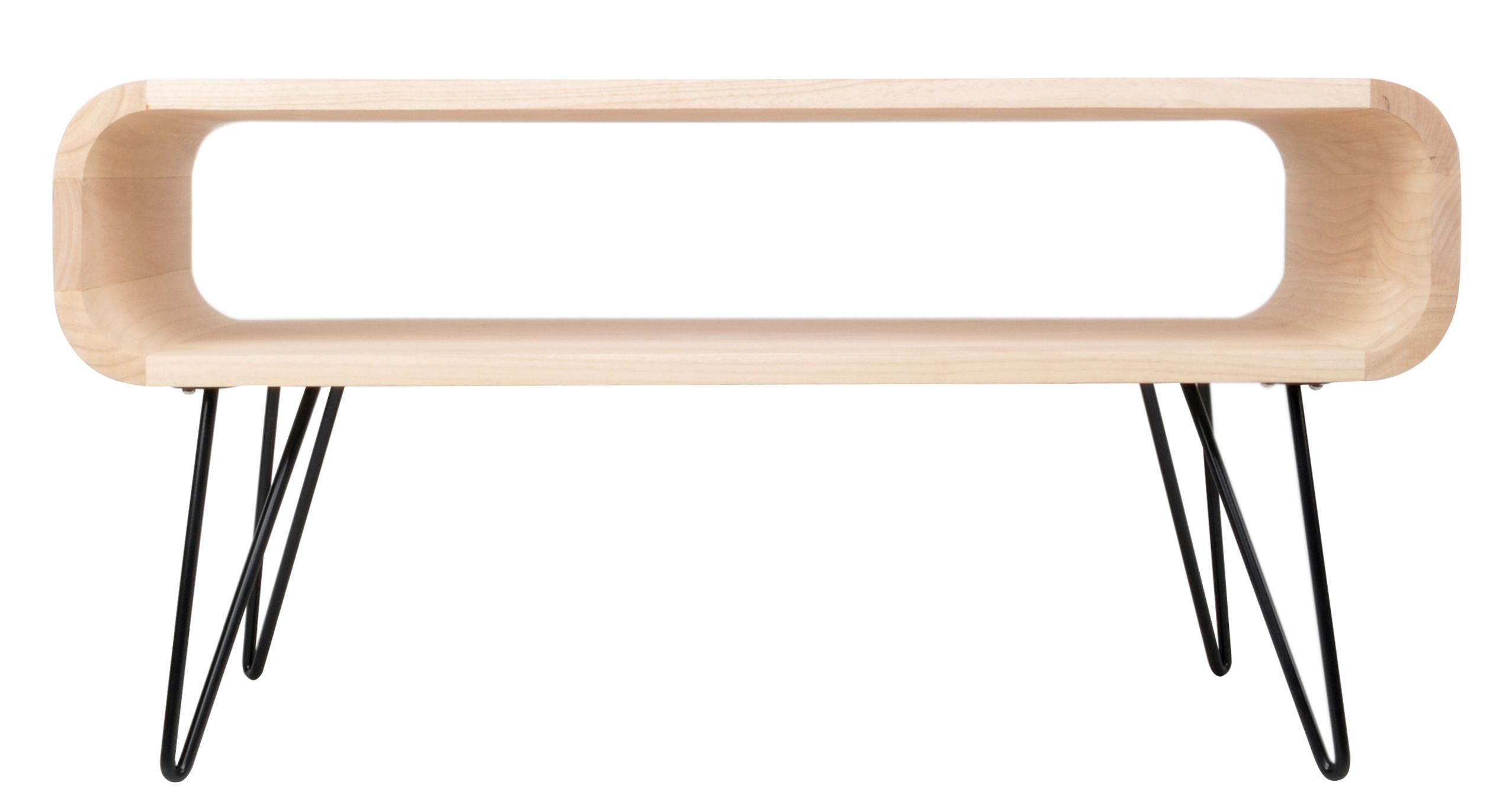 Mobilier - Tables basses - Table basse Metro Coffee / L 90 x H 45 cm - XL Boom - Bois naturel / Pied noir - Bois d'Hévéa, Métal peint