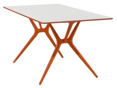 Arredamento - Mobili Ados  - Tavolo pieghevole Spoon - 200 x 90 cm di Kartell - Piano bianco / piedi arancioni - Alluminio finitura laminato, Tecnopolimero