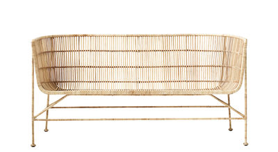 Furniture - Sofas - Cuun 2 seater sofa - / 2 seats - L 140 cm by House Doctor - Bench / Natural - Iron, Rattan