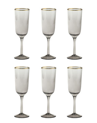 Tableware - Wine Glasses & Glassware - Decò Champagne glass - / Set of 6 - H 19.5 cm by Bitossi Home - Grey - Blown glass