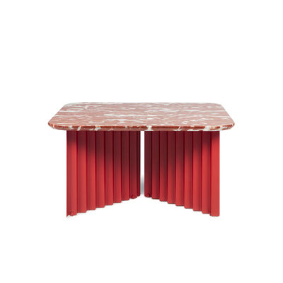 Furniture - Coffee Tables - Plec Medium Coffee table - / Marble - 70 x 70 x H 35 cm by RS BARCELONA - Red - Marble, Steel