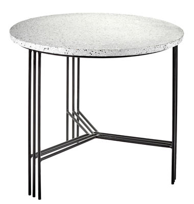 Furniture - Coffee Tables - Terrazzo Coffee table - Ø 50 x H 45 cm by Serax - Black / Grey tray - Painted iron, Terrazzo