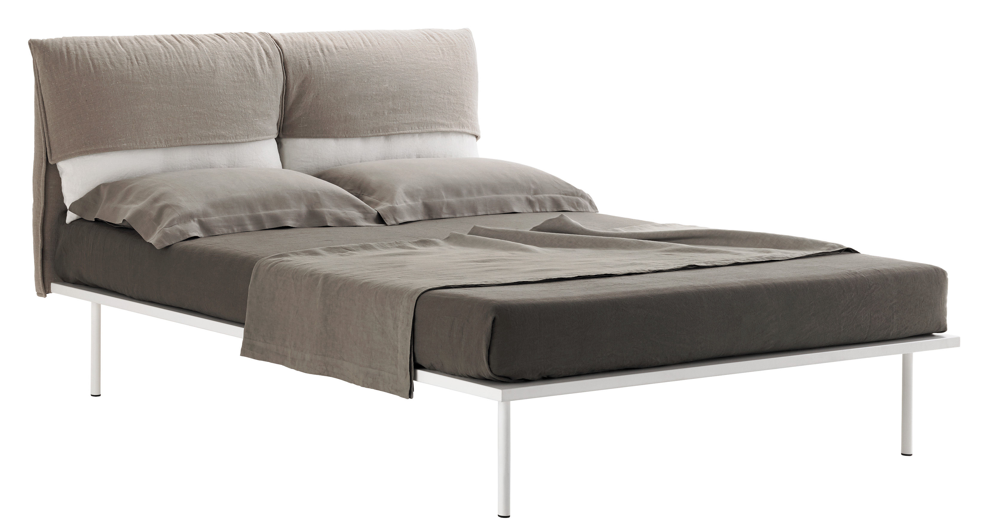 Furniture - Beds - Coverbed Double bed - 176 x 213 cm by Zanotta - White / Taupe fabric - Fabric, Metal, Polyurethane foam