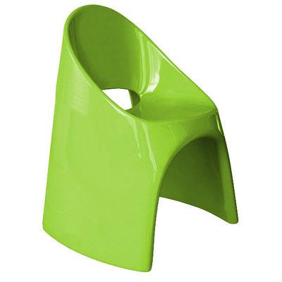 Fauteuil empilable Amélie / Plastique laqué - Slide laqué vert en matière plastique