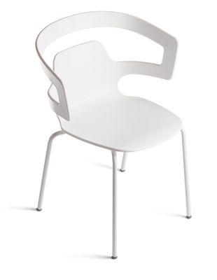 Mobilier - Chaises, fauteuils de salle à manger - Fauteuil empilable Segesta / Coque plastique & pieds métal - Alias - Structure en acier laqué blanc / coque en matériau plastique bla - Acier laqué, Matière plastique