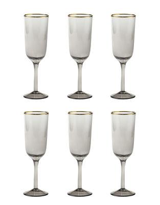 Flûte à champagne Decò / Set de 6 - H 19,5 cm - Bitossi Home gris,doré en verre