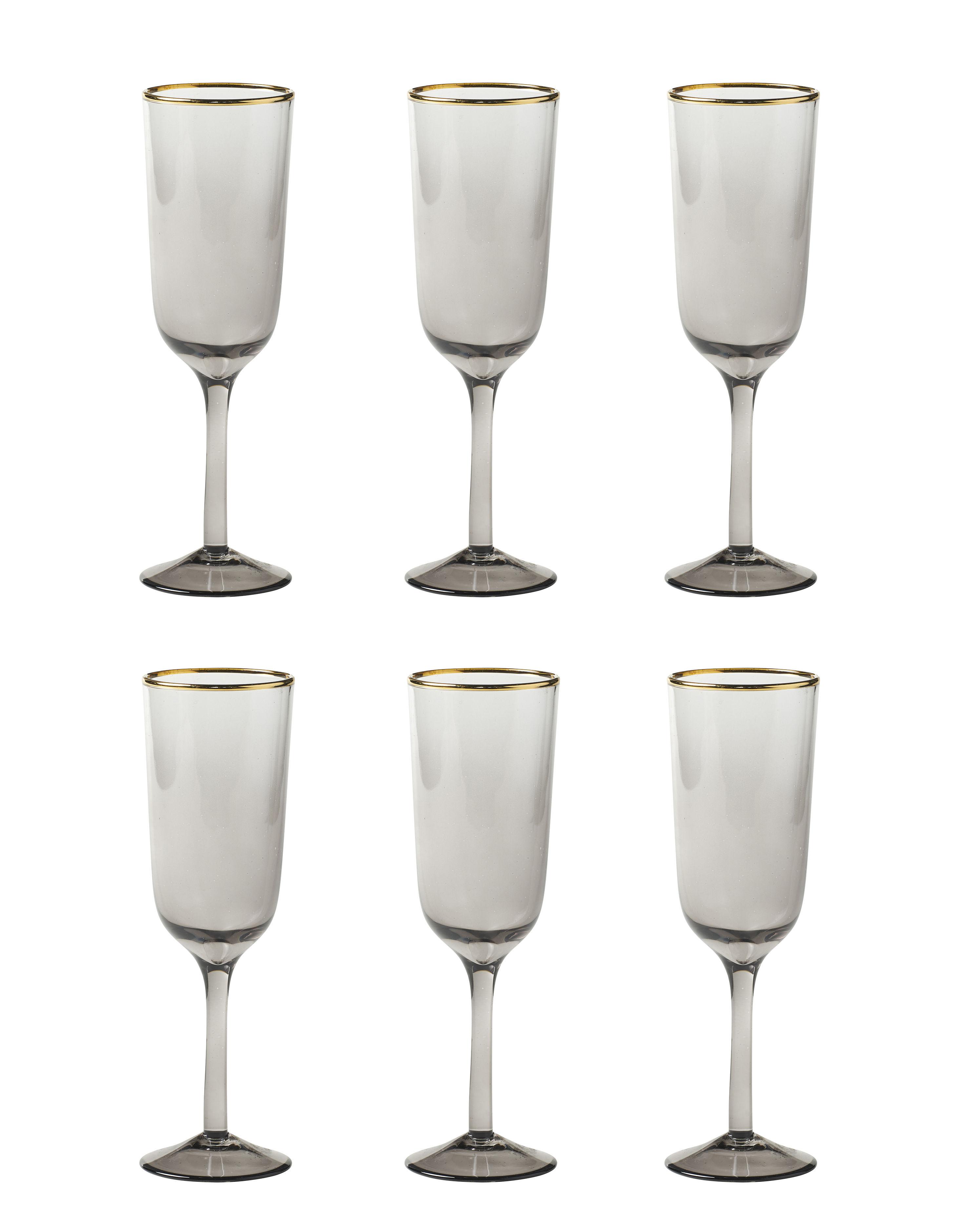 Tavola - Bicchieri  - Flûte da champagne Decò - / Set da 6 - H 19,5 cm di Bitossi Home - Grigio - vetro soffiato