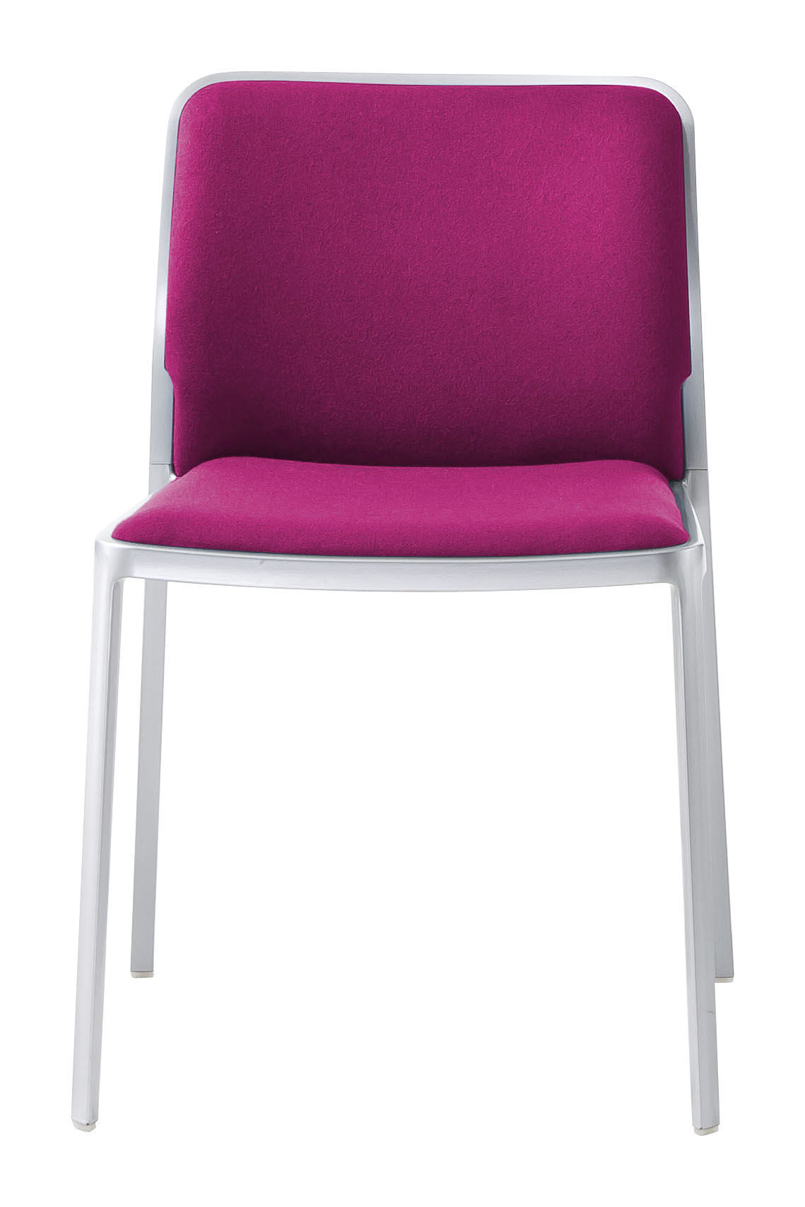 Möbel - Stühle  - Audrey Soft Gepolsterter Stuhl / Sitzfläche aus Stoff - Gestell Aluminium mattiert - Kartell - Gestell: Aluminium matt / Sitzfläche: Stoff fuchsia - Gewebe, klarlackbeschichtetes Aluminium
