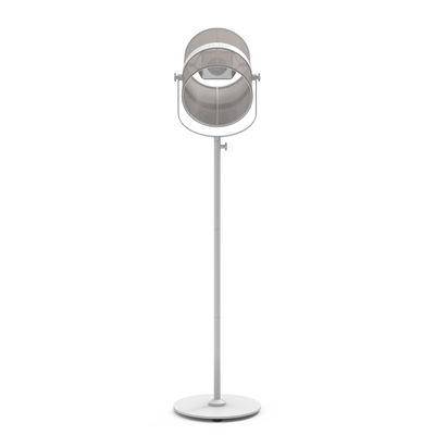 Luminaire - Lampadaires - Lampadaire solaire La Lampe Paris LED / Hybride & connectée - Maiori - Taupe clair / Pied blanc - Aluminium peint, Tissu