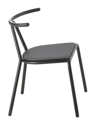 Furniture - Chairs - Toro Padded chair - Fabric seat by B-LINE - Fabric seat / Black - Fabric, Polyurethane foam, Varnished steel