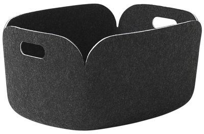 Déco - Paniers et petits rangements - Panier Restore / Feutre - 35 x 48 cm - Muuto - Gris-noir - Feutre recyclé