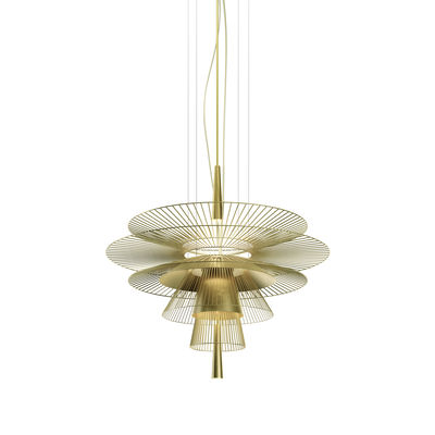 Lighting - Pendant Lighting - Gravity 1 LED Pendant - / Ø 86 x H 81 cm - Metal by Forestier - Champagne - Metal