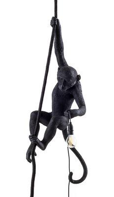 Lighting - Pendant Lighting - Monkey Hanging Pendant - Outdoor / H 80 cm by Seletti - Black - Resin