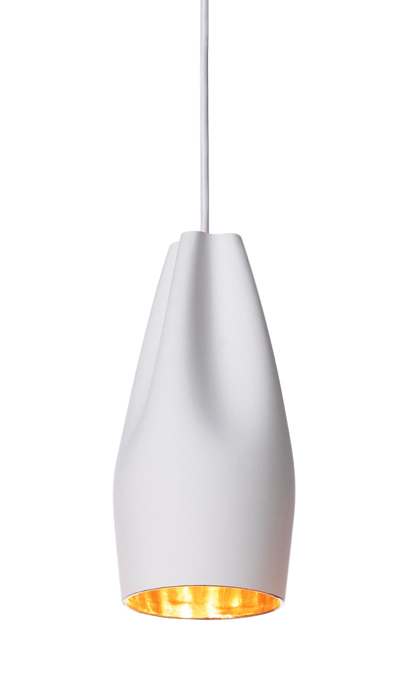 Lighting - Pendant Lighting - Pleat Box 13 Pendant - Ø 11 x H 26 cm - Ceramic by Marset - White / Gold inside - Ceramic