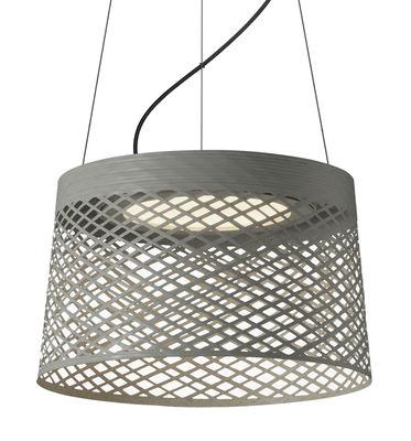 Leuchten - Pendelleuchten - Twiggy Grid LED Outdoor Pendelleuchte / Ø 46 cm x H 29 cm - Foscarini - Grau - Glasfaser, lackiertes Metall, Verbund-Werkstoffe