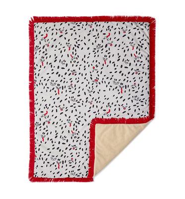 Dekoration - Wohntextilien - Tapame Mucho Large - Wild Dots Plaid rembourré / 180 x 140 cm - Sancal - Wild Dots / rot & beige - Fausse fourrure, Fibre synthétique, Polyesterfaser