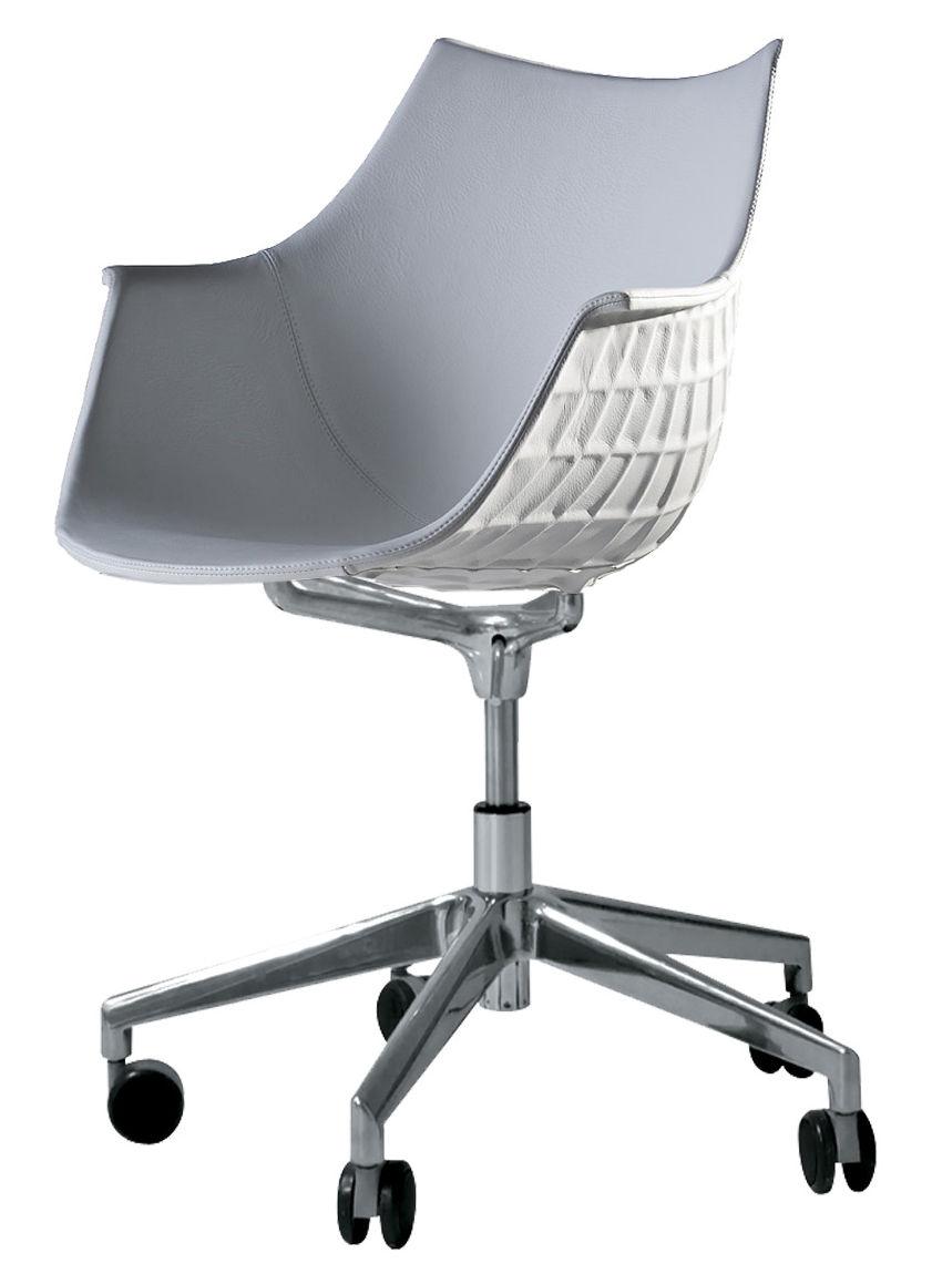 Arredamento - Sedie ufficio - Poltrona con ruote Méridiana / Cuoio - Driade - Cuoio bianco - Acciaio cromato, Pelle, policarbonato