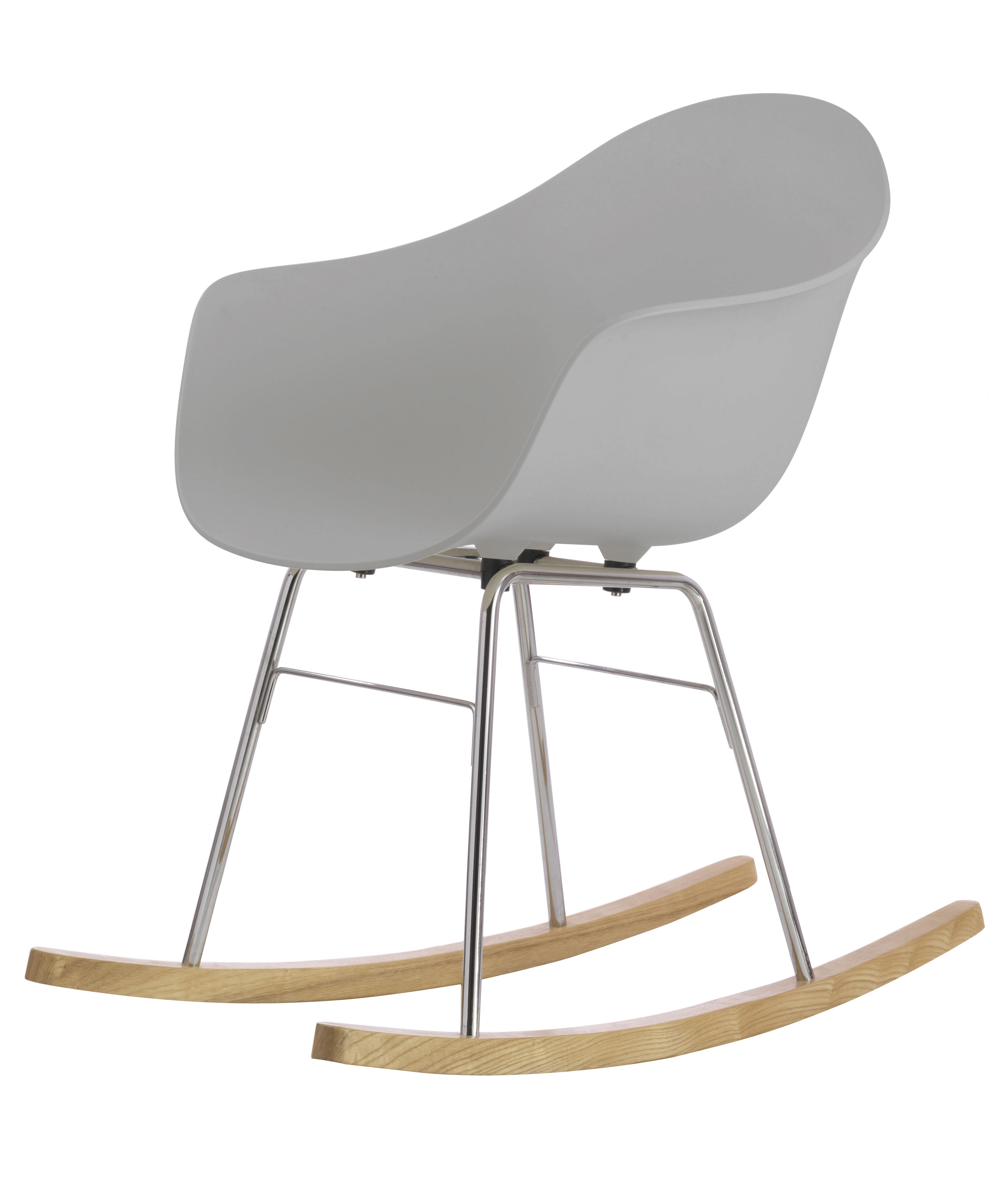 Furniture - Armchairs - TA Rocking chair - Wood sledge by Toou - Gris / Chromé & patins bois - Chromed metal, Natural oak, Polypropylene